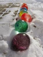 ледяные шары, ледяные скульптуры,новогодние поделки