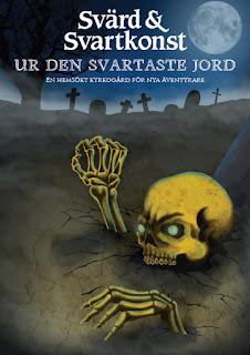 Kyrkogård i fullmånens sken. Ett skelett klöser sig upp ur jorden.