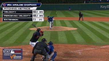 Registros de velocidad de Chapman durante el segundo juego de la Serie Mundial. Foto: MLB.COM