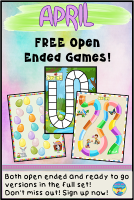 Open ended, free printable board games from Looks Like Language!