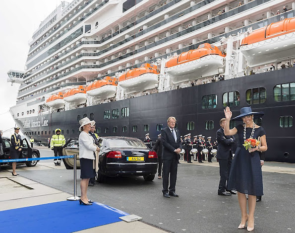 Dutch Queen Maxima baptizes the cruise ship MS Koningsdam at the harbour of Rotterdam.