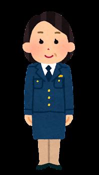 警察官のイラスト(女性・制帽なし・スカート・中年)