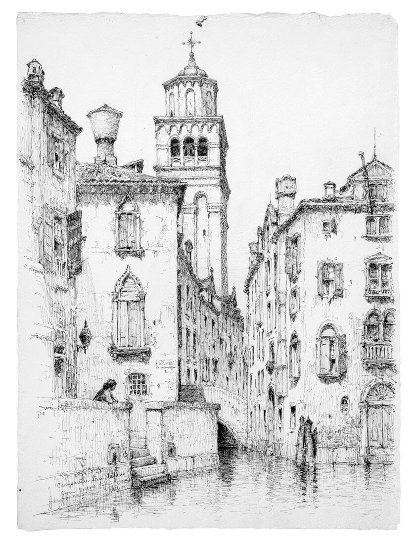 04-Campanile-San-Stefano-Venice-Andrew-F-Bunner-Venice-Urban-Architectural-Drawings-from-the-1800s-www-designstack-co