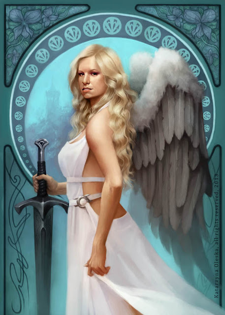 Angel portrait with sword