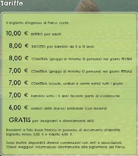 Tariffe Parco Ittico Paradiso 2017