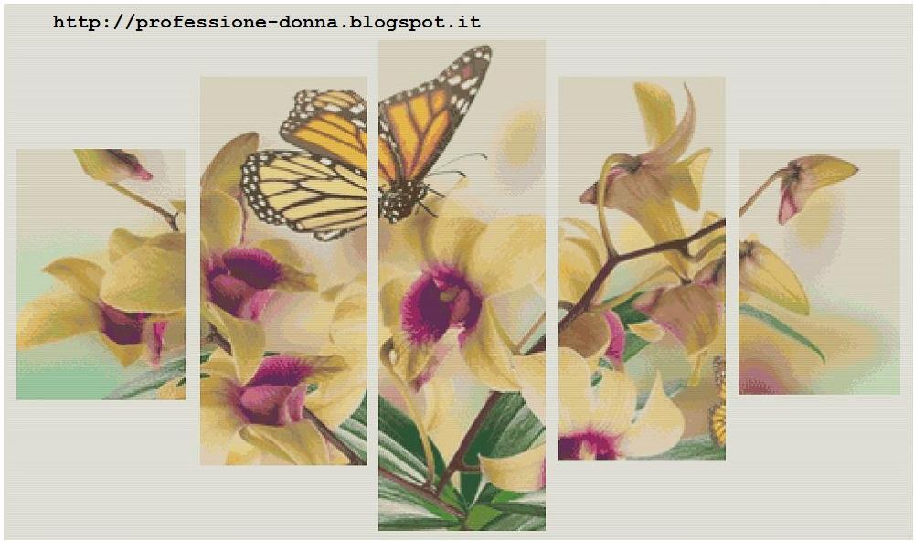 Professione donna schema a punto croce trittico 64 for Schemi punto croce fiori e farfalle