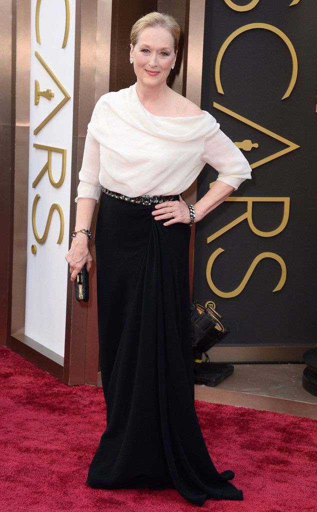 Meryl Streep in a black and white Lanvin frock at the Oscars 2014