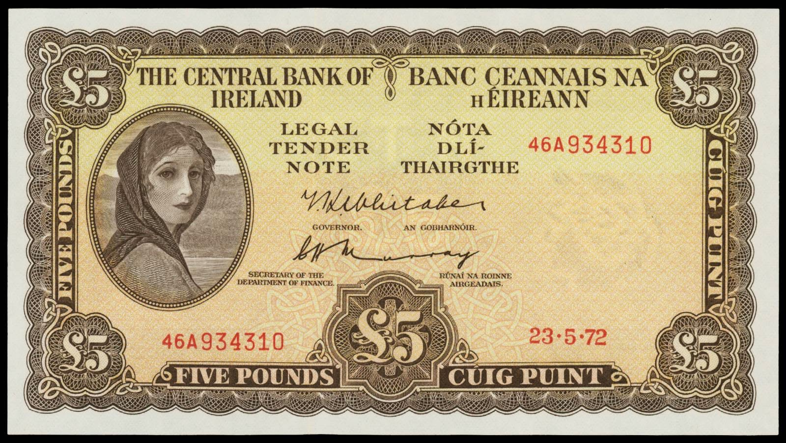 Ireland banknotes 5 Pound note Lady Lavery