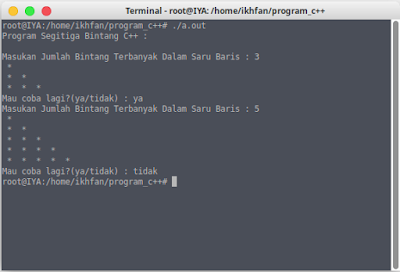 program segitiga bintang input manual c++