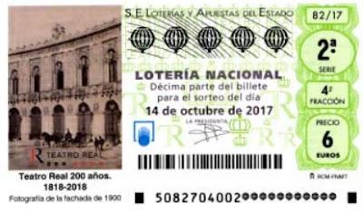 decimos loteria teatro real 14-10-2017