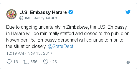 Tweet from US Embassy Harare