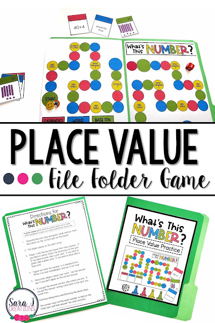 Printable Place value file folder game