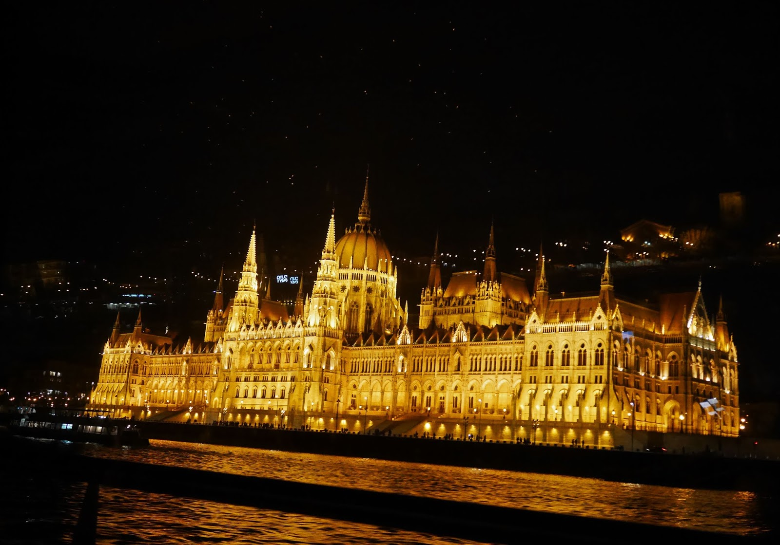 Nighttime view of the Parliament Building from our boat on the Danube, Budapest
