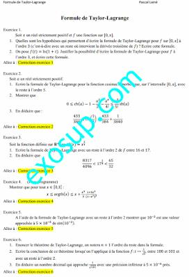 Exercices corrigés formule de taylor