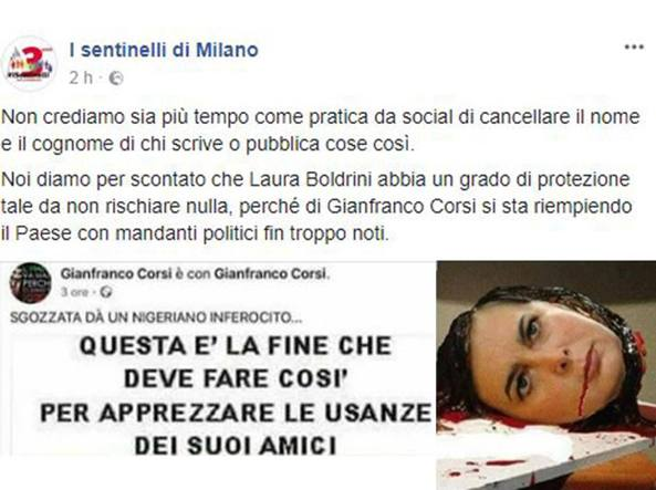 Buongiornolink - Su Facebook fotomontaggio shock della Boldrini sgozzata da un nigeriano