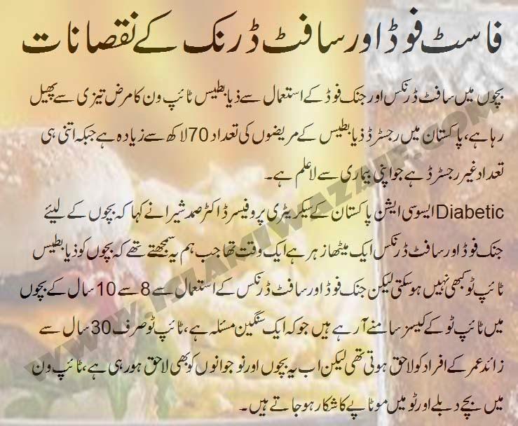 fast food or soft drink ke nuqsanat in urdu