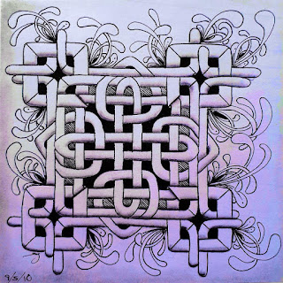 Summer Tangles 2018 - August 28 - Celtic Knot with August 18 - Frames with Mooka