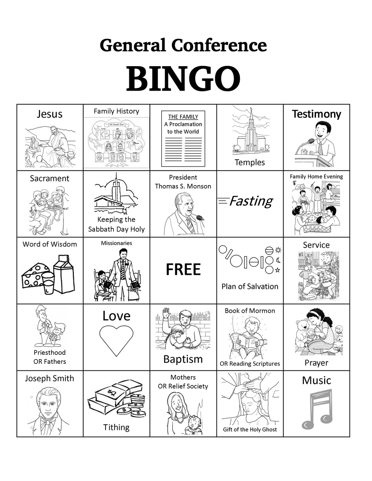 Free Download General Conference Bingo