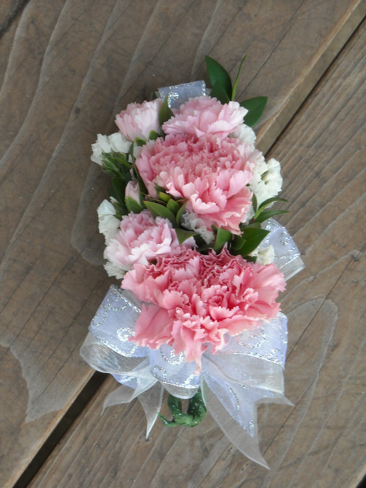 Wrist Corsage: Becky's Blossoms: Carnation Wristlet Corsage