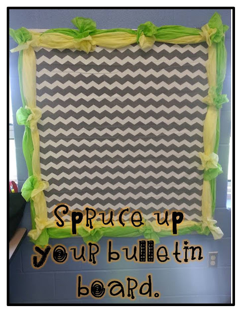 tissue paper bulletin board border- dollar tree cheap room decor