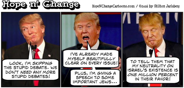 obama, obama jokes, political, humor, cartoon, conservative, hope n' change, hope and change, stilton jarlsberg, trump, debate, israel