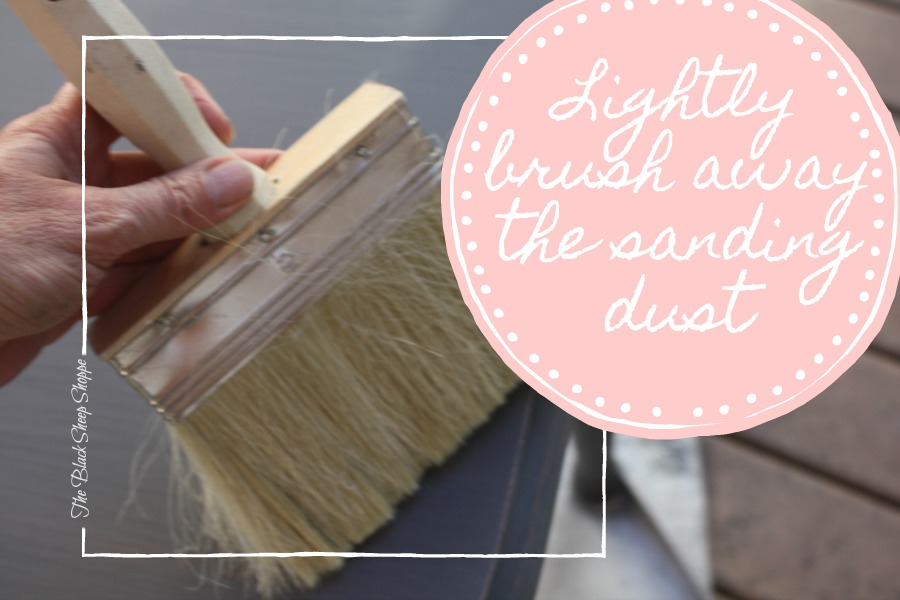 For easy clean up, use a soft bristle brush to light brush away the sanding dust.