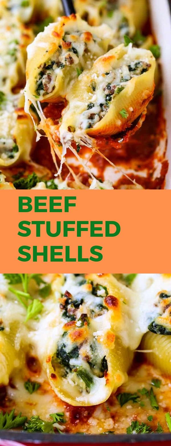Beef Stuffed Shells #BEEFRECIPES #DINNER