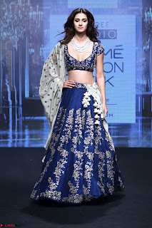 Disha Patani in Beautiful Blue Chania Choli Lehenga at Lakme Fashion Week Summer Spring 2017 3.jpg