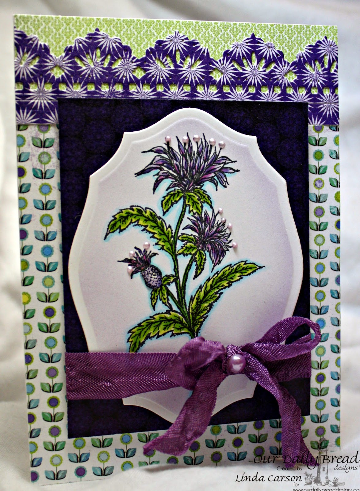 Our Daily Bread Designs, Bee Balm, Beautiful Borders dies, Elegant Oval Dies, designer Linda Carson