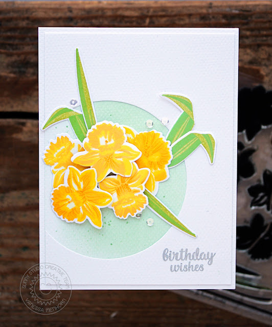 Sunny Studio Stamps: Daffodil Dreams Birthday Themed Card by Vanessa Menhorn