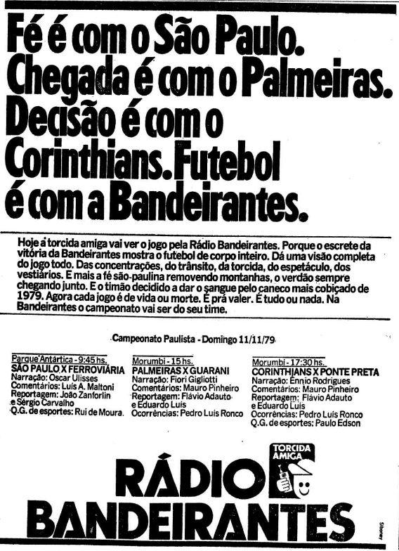 Propaganda da Rádio Bandeirantes para promover o Campeonato Paulista no final dos anos 70