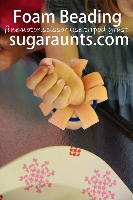 Fine motor activities for kids using foam curler beads.