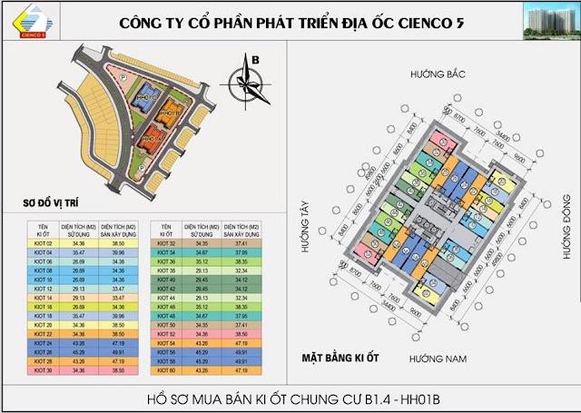 Mặt bằng kiot tòa B1.4 HH01B chung cư Thanh Hà