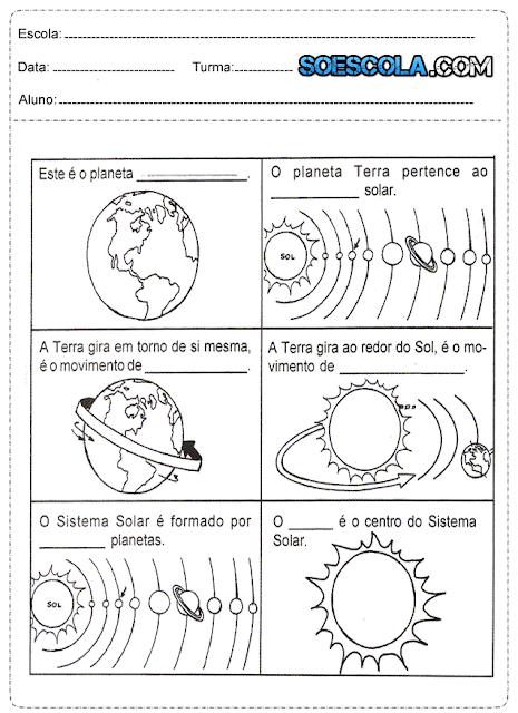 Atividades de Ciências sobre o Sistema Solar
