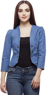 Stretchable Solid Denim Jacket