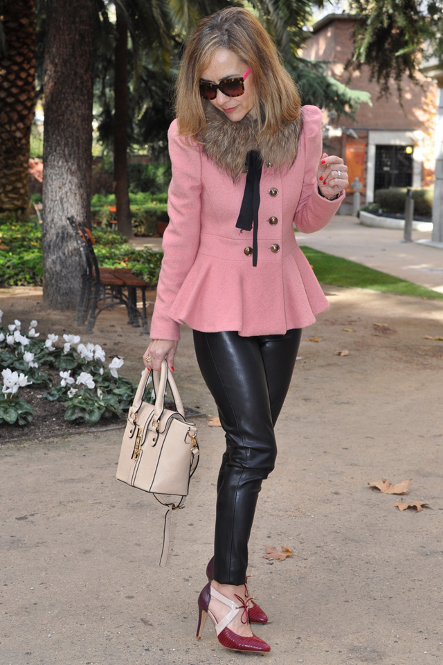 leather pants peplum jacket