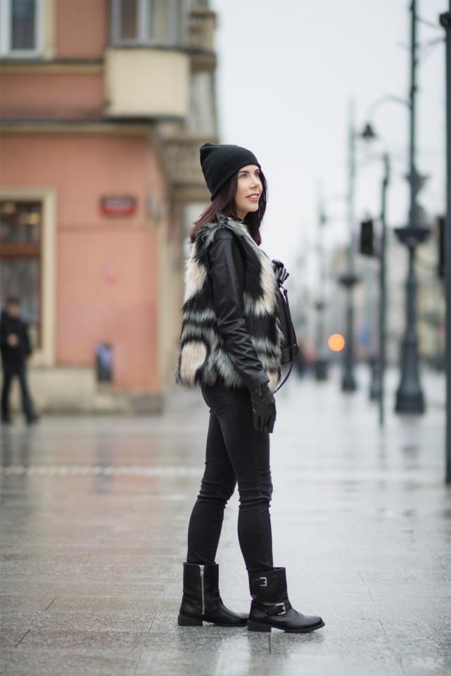rockowa stylizacja | styl rockowy | ramoneska | futrzana kamizelka | kamizelka G by Baczyńska | czapka beanie | workery H&M | młodzieżowy styl zimą | sztuczne futro | styl miejski | blog o modzie | blog szafiarski | Łódź | blogerka z Łodzi