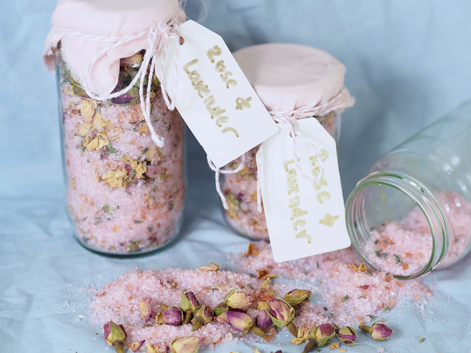 DIY bath salts with rose and lavender