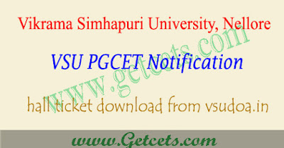 VSUPGCET hall ticket download 2021-2022 @vsudoa.in