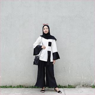 Outfit Celana Cullotes Untuk Hijabers Ala Selebgram 2018 top blouse putih high heels loafers and slip ons cullotes pallazo hijab pashmina diamond ciput rajut slingbags hitam ootd trendy kacamata merah