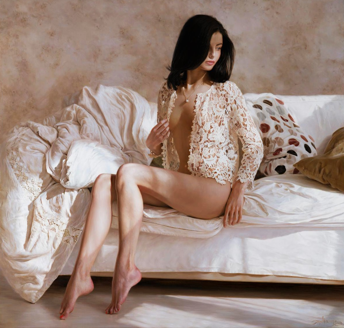 Hyperrealistic Oil Paintings by Marina Marina - Sunday Morning (2014)