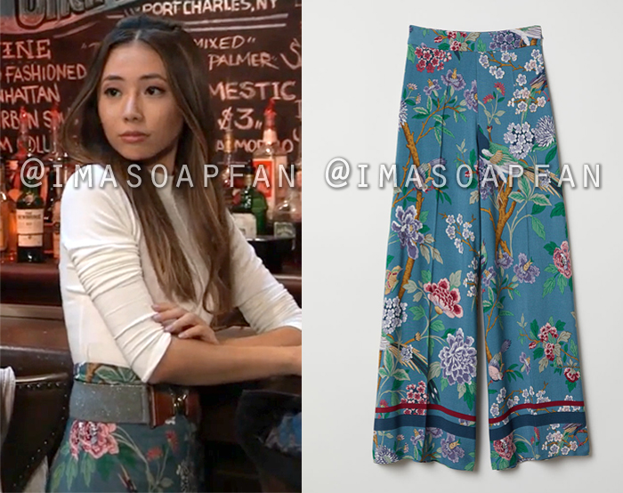 Daisy Kwan, Kelsey Wang, Blue Floral Print Wide Leg Pants, H&M, General Hospital, GH