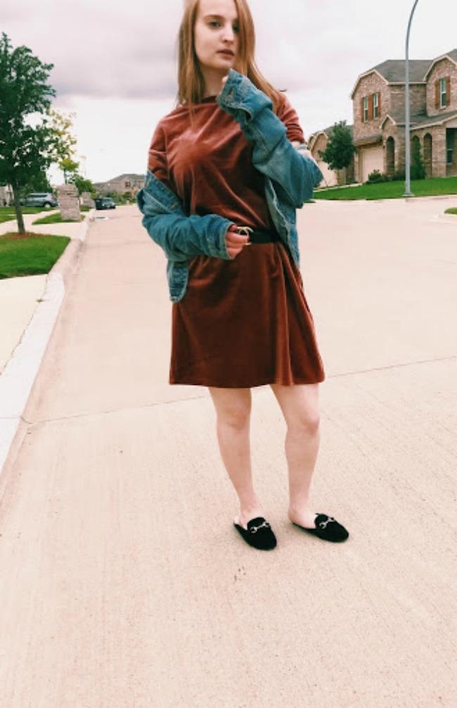 Velvet T-Shirt Dress And Denim Jacket Outfit