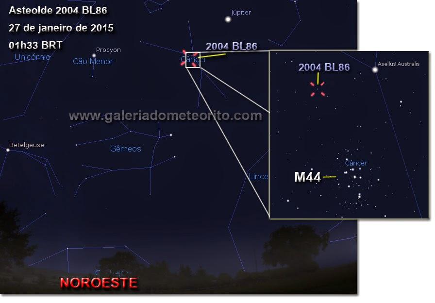 carta celeste asteroide 2004 BL86