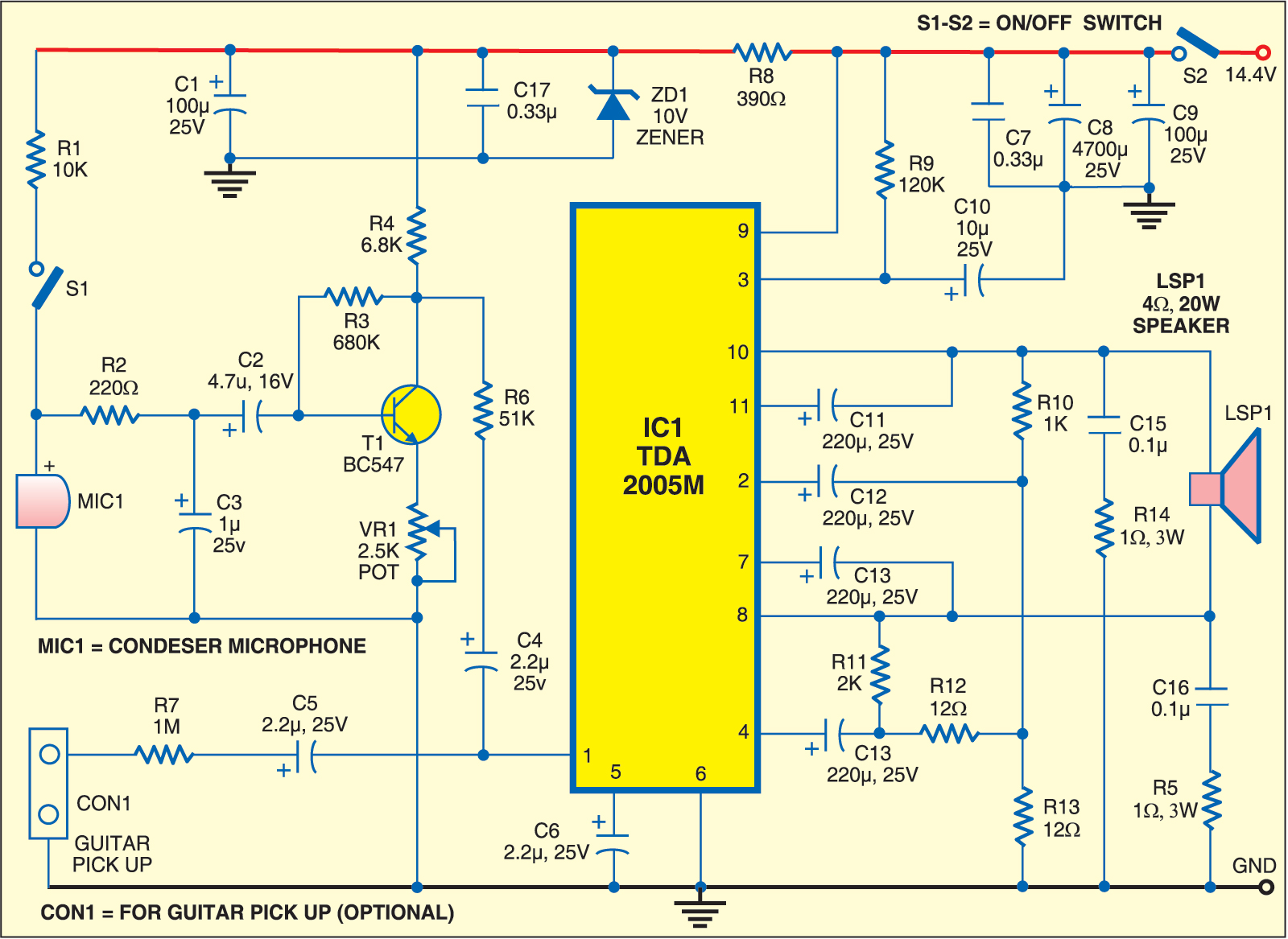 Guitar and Microphone Amplifier   Circuits-Projects
