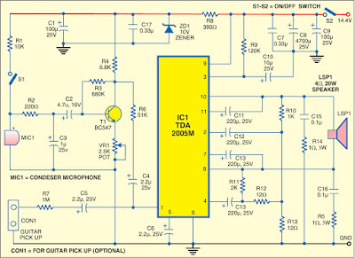 Guitar and Microphone Amplifier Circuit Diagram
