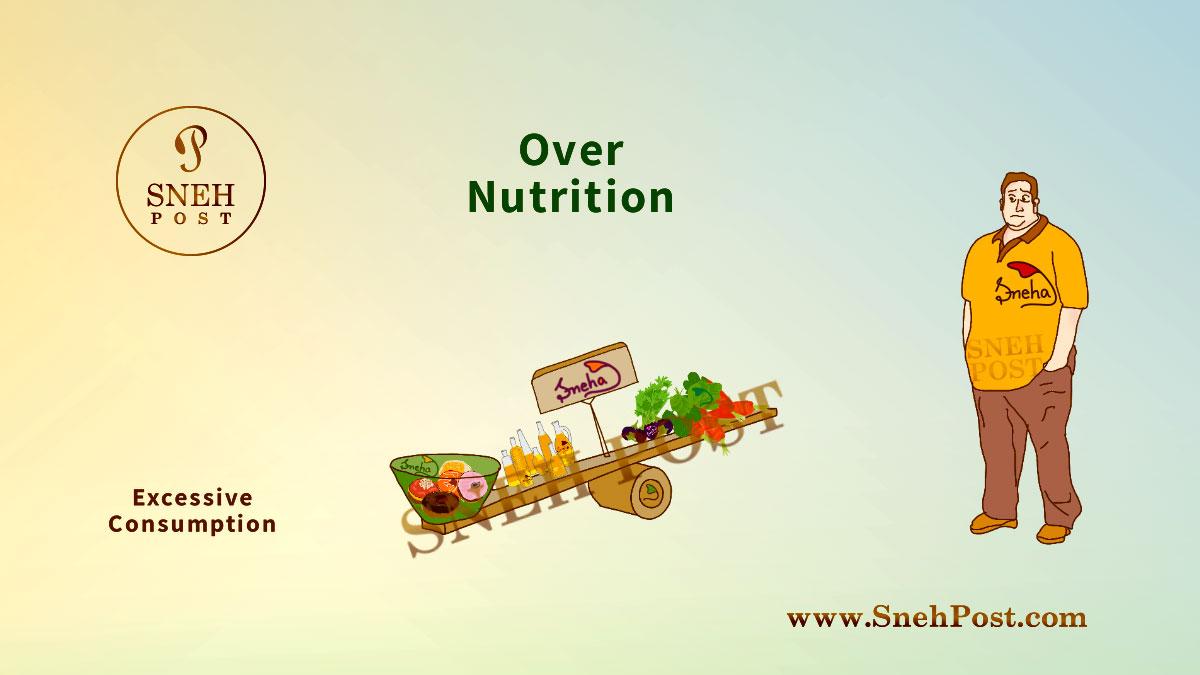 Malnutrition: Over nutrition illustration of a fatty man