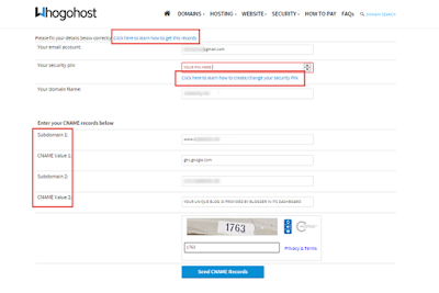 Whogohost CNAME form for blogger