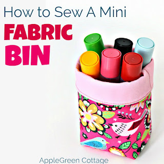 free pattern to make a mini fabric bin