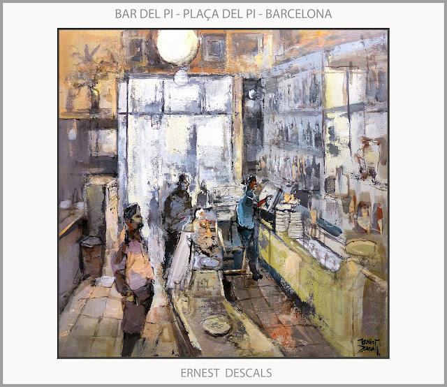 BARCELONA-PINTURA-PLAÇA DEL PI-BAR DEL PI-CAFETERIES-PAISATGES-CATALUNYA-QUADRES-ARTISTA-PINTOR-ERNEST DESCALS-